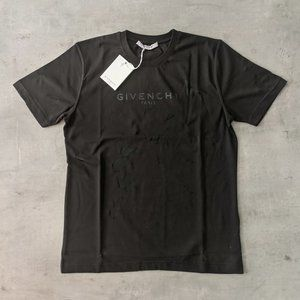 Givenchy Black Written Black Worn Fabric T-Shirt
